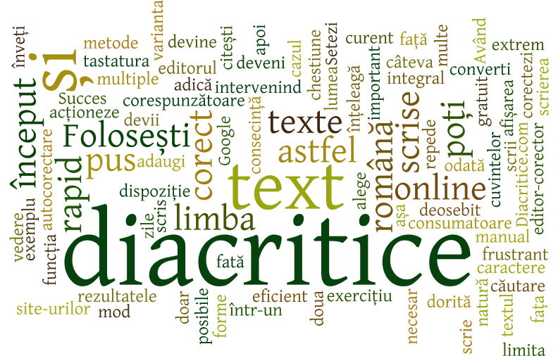 Adăugarea diacriticelor într-un text
